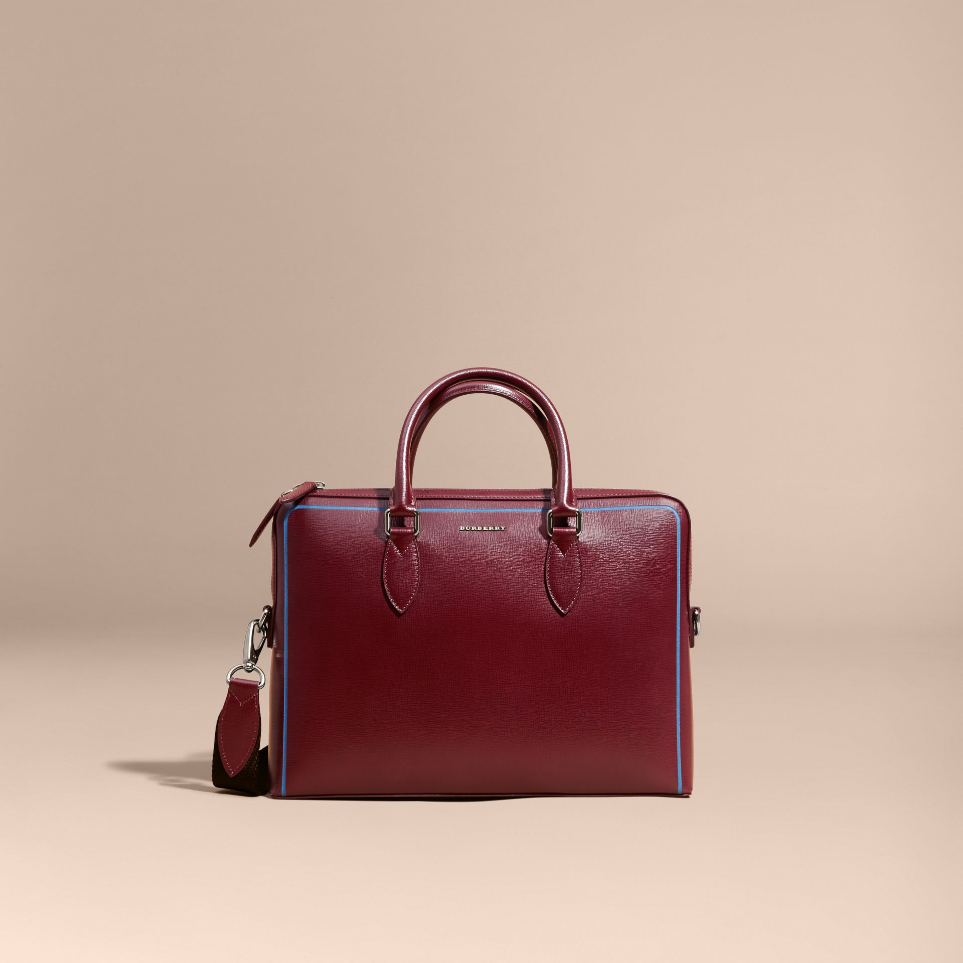 The Slim Barrow Bag in London Leather with Border Detail Burgundy Red - gallery image 9