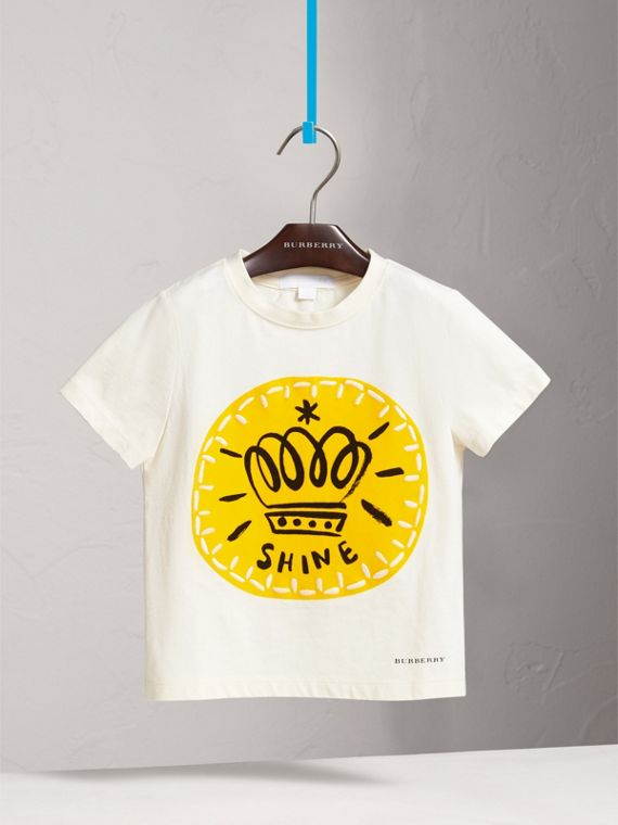 London Icons Motif Cotton T-shirt in Natural White