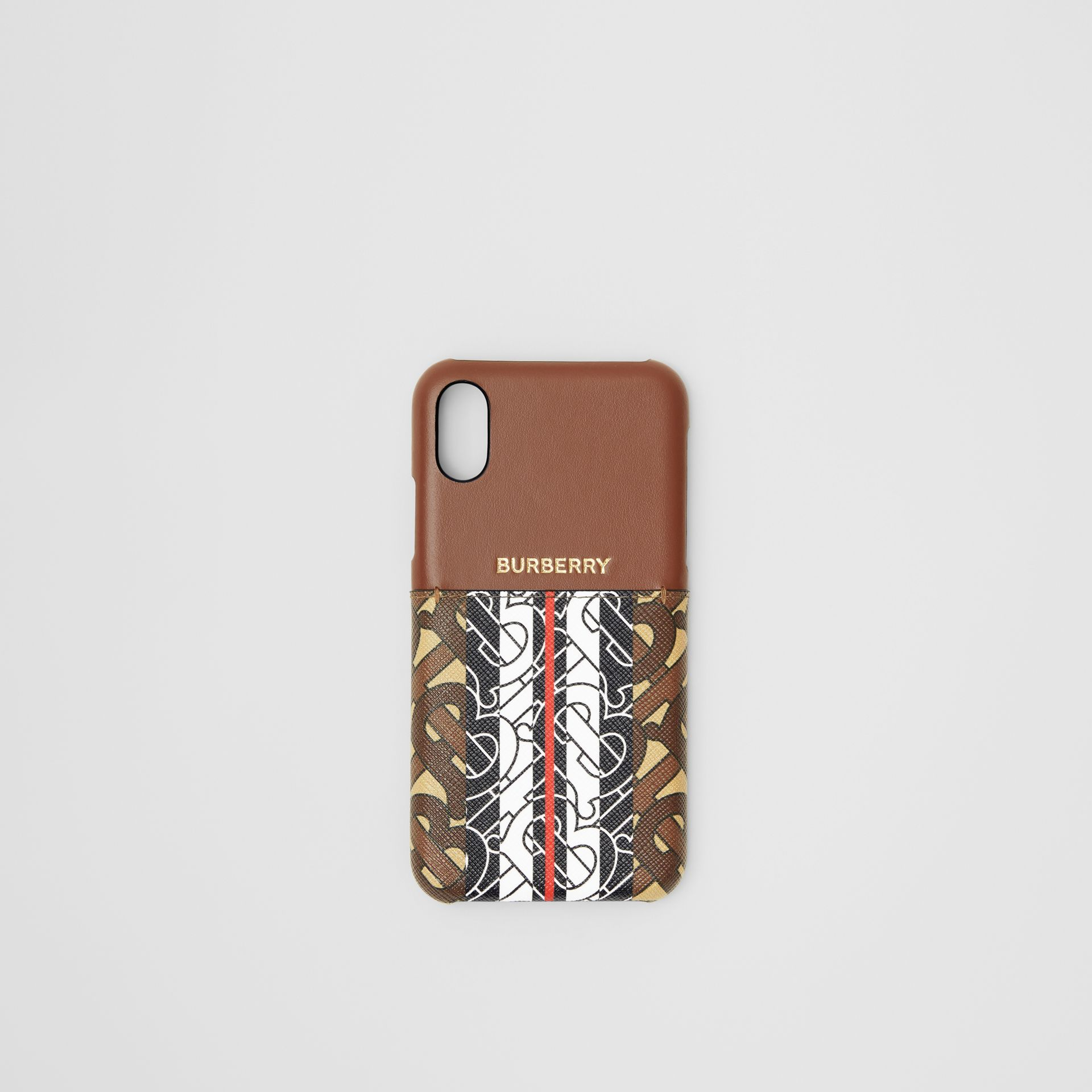 Leather and Monogram Stripe E-canvas iPhone X/XS Case in Bridle Brown | Burberry Hong Kong S.A.R - gallery image 0