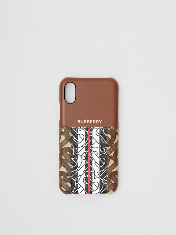 iPhone X/XS-Etui aus Leder und Eco-Canvas mit Monogrammmuster im Streifendesign (Lederbraun)