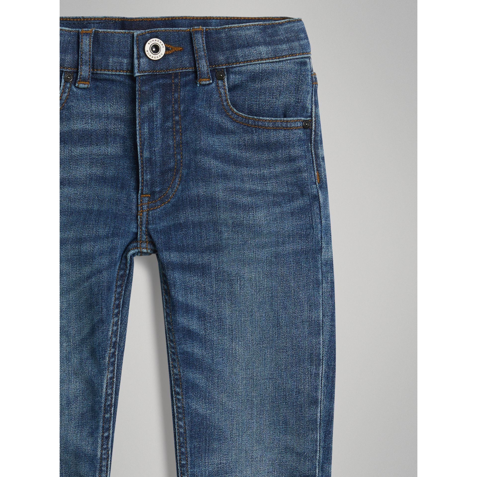 Skinny Fit Stretch Jeans in Mid Indigo | Burberry Canada - gallery image 4