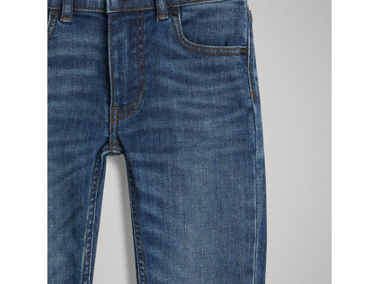 Skinny Fit Stretch Jeans in Mid Indigo - Boy | Burberry - cell image 4