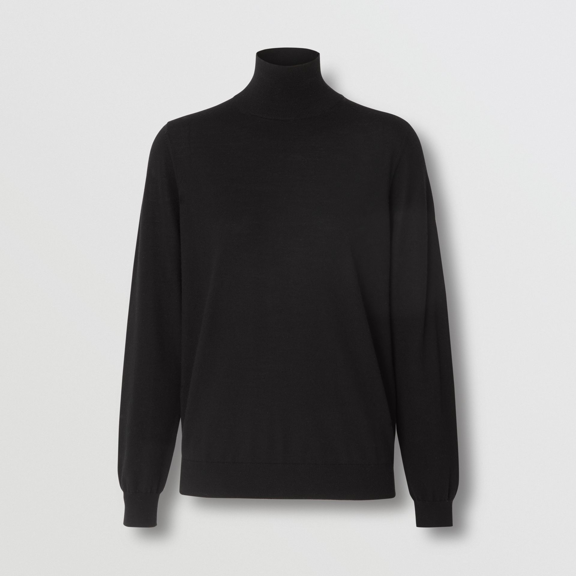 Logo Intarsia Merino Wool Sweater in Black - Women | Burberry Canada - gallery image 3