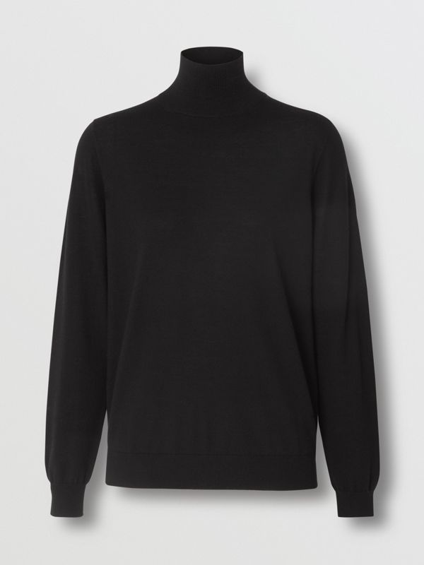 Logo Intarsia Merino Wool Sweater in Black - Women | Burberry - cell image 3