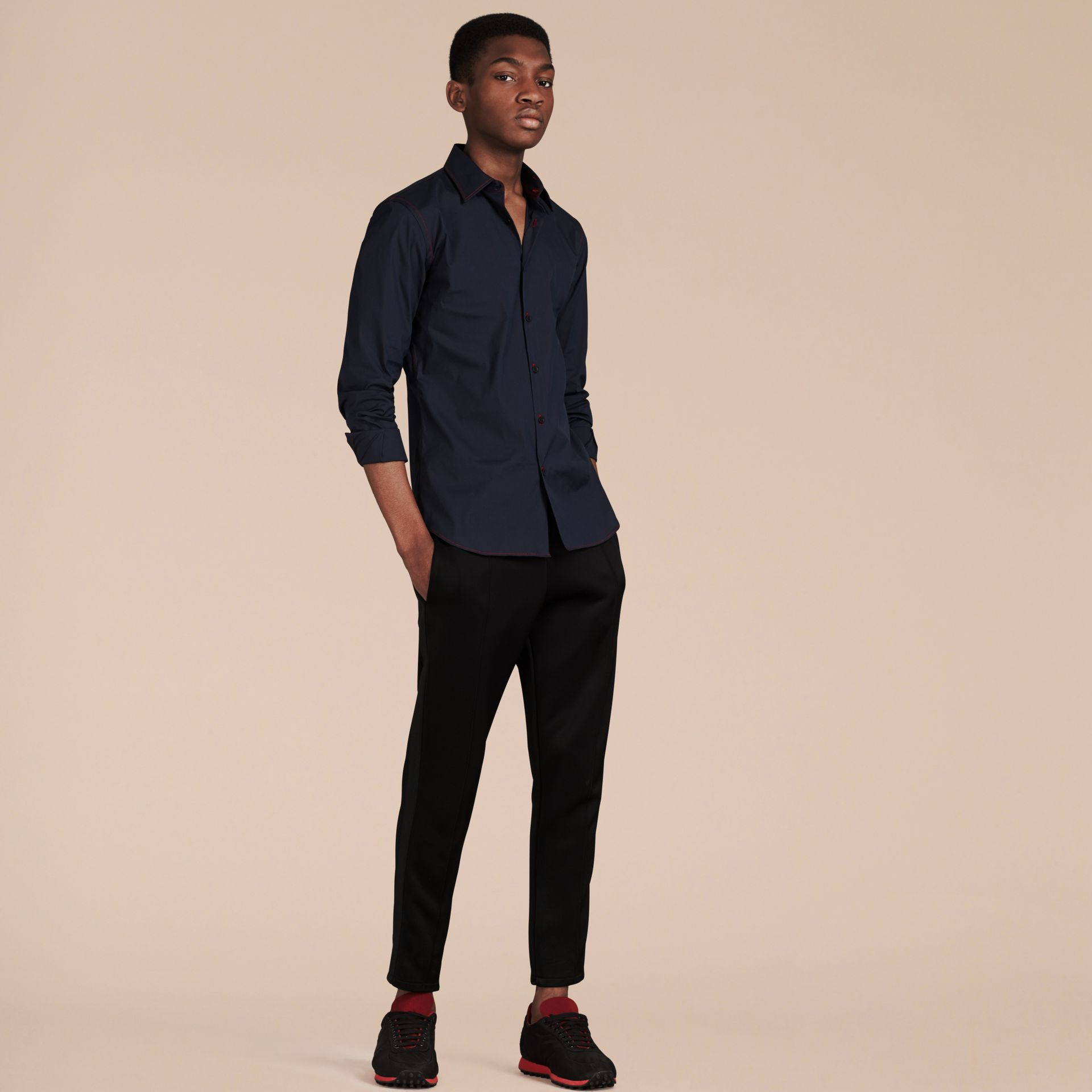 Navy Contrast Topstitch Stretch Cotton Shirt Navy - gallery image 4