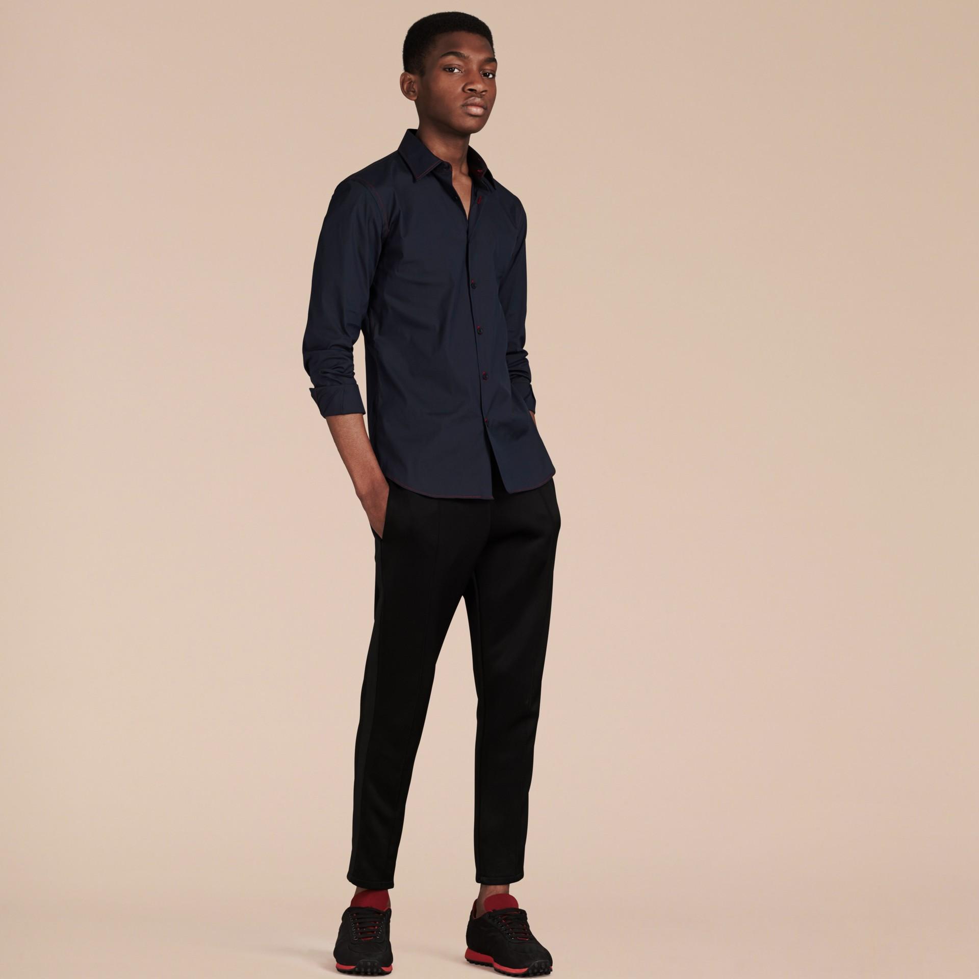 Темно-синий Рубашка с контрастной отстрочкой Темно-синий - изображение 4