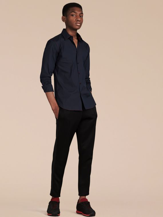 Navy Contrast Topstitch Stretch Cotton Shirt Navy - cell image 3