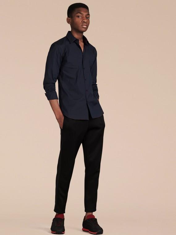 Темно-синий Рубашка с контрастной отстрочкой Темно-синий - cell image 3