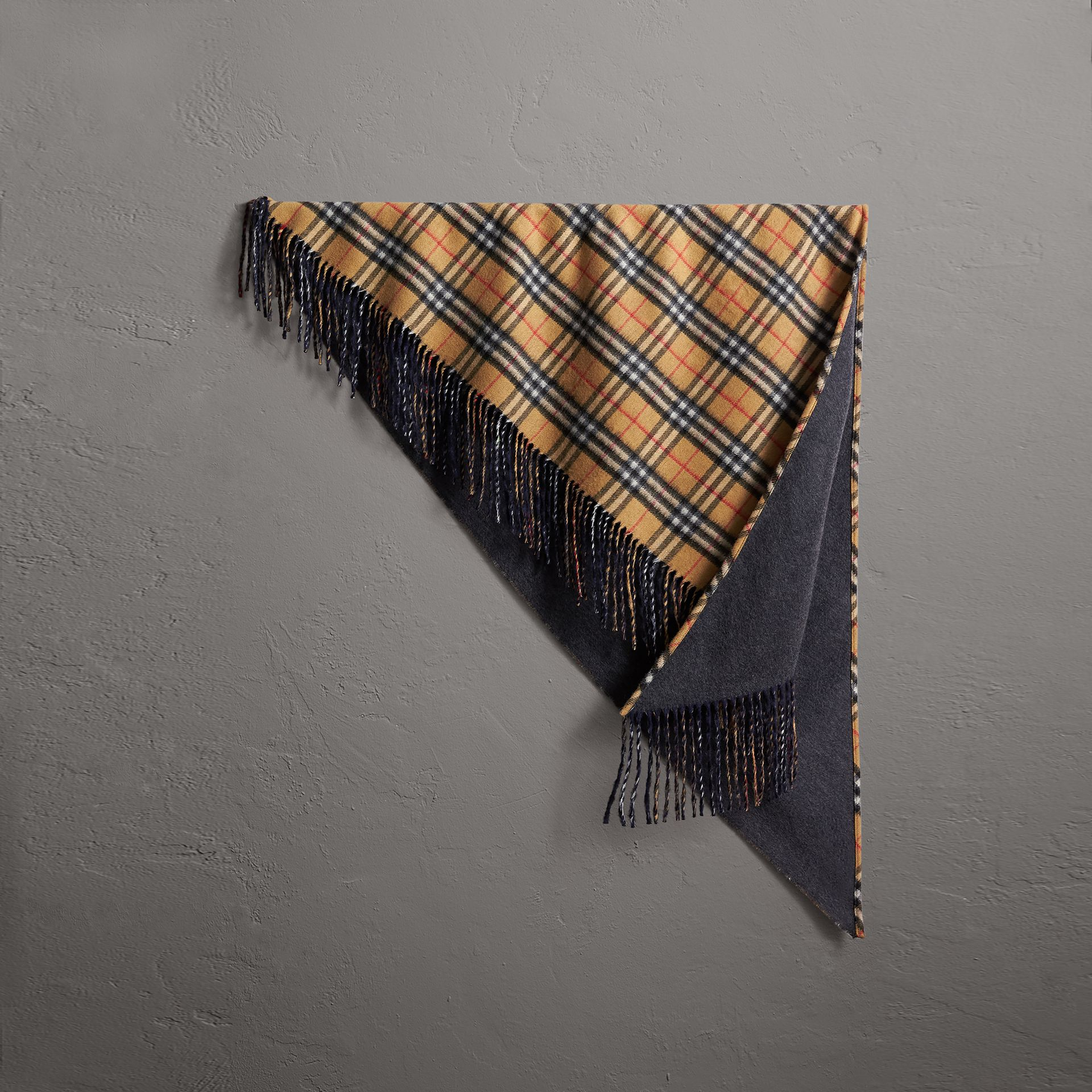 The Burberry Bandana in Vintage Check Cashmere in Blue Carbon | Burberry - gallery image 0