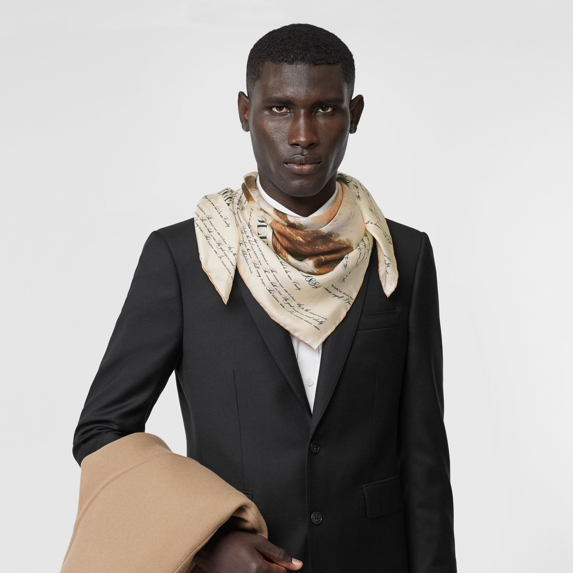 Mariner Print Silk Square Scarf in Bronze | Burberry United States - gallery image 3