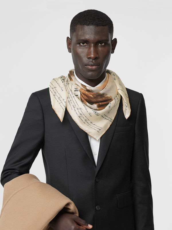 Mariner Print Silk Square Scarf in Bronze | Burberry - cell image 3