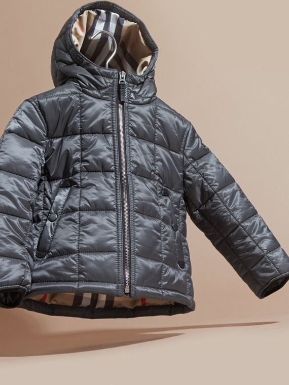 Charcoal Lightweight Quilted Jacket with Hood - cell image 2