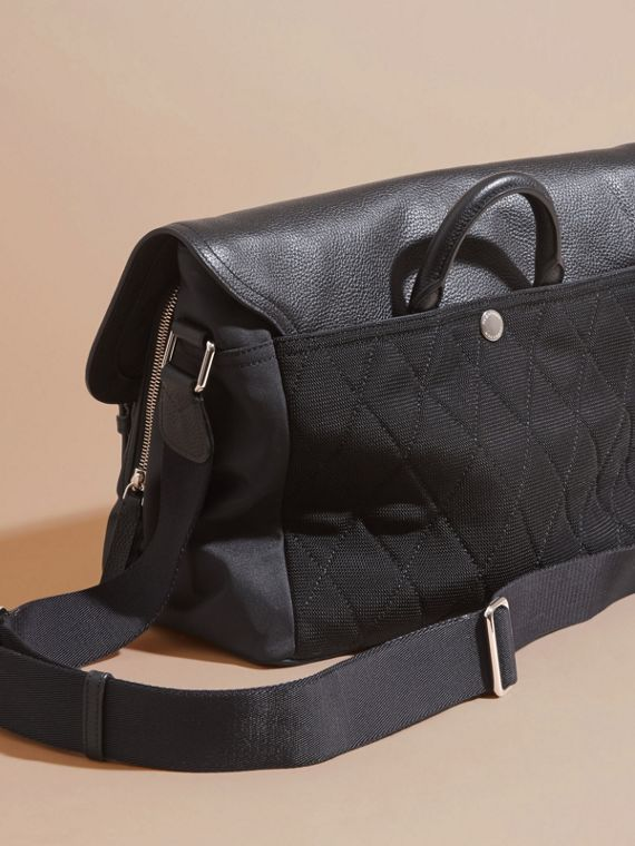 Black Leather Trim Messenger Bag - cell image 3