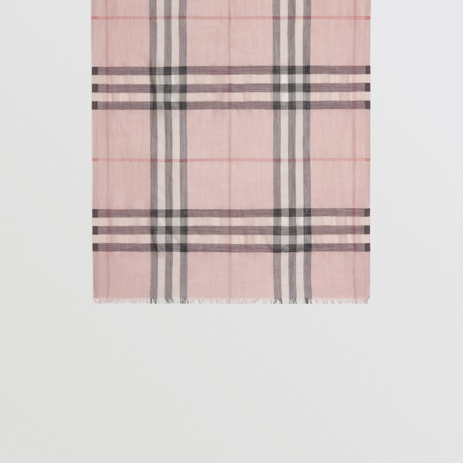 Metallic Check Silk and Wool Scarf in Ash Rose/silver | Burberry Australia - gallery image 3