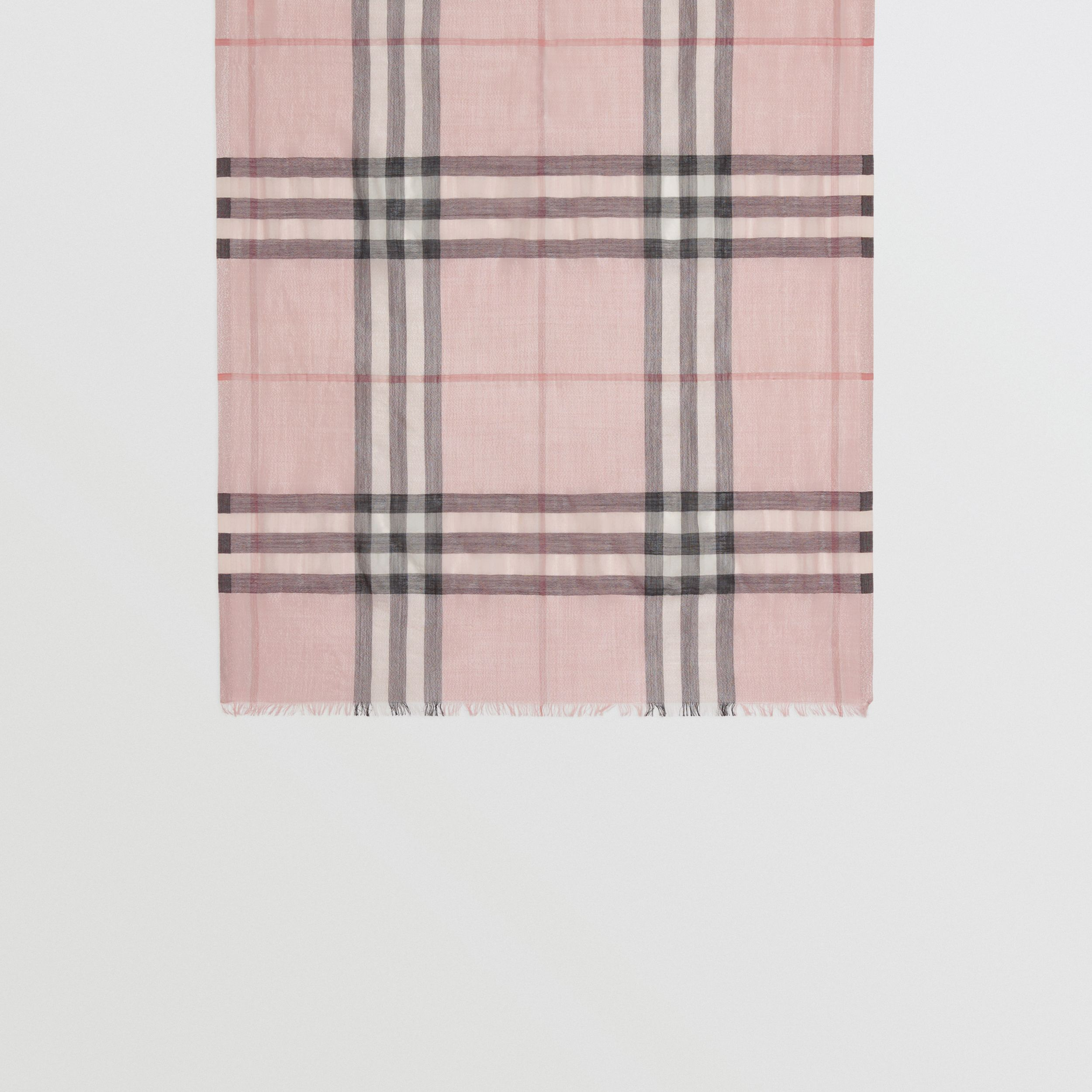 Metallic Check Silk and Wool Scarf in Ash Rose/silver | Burberry - 4