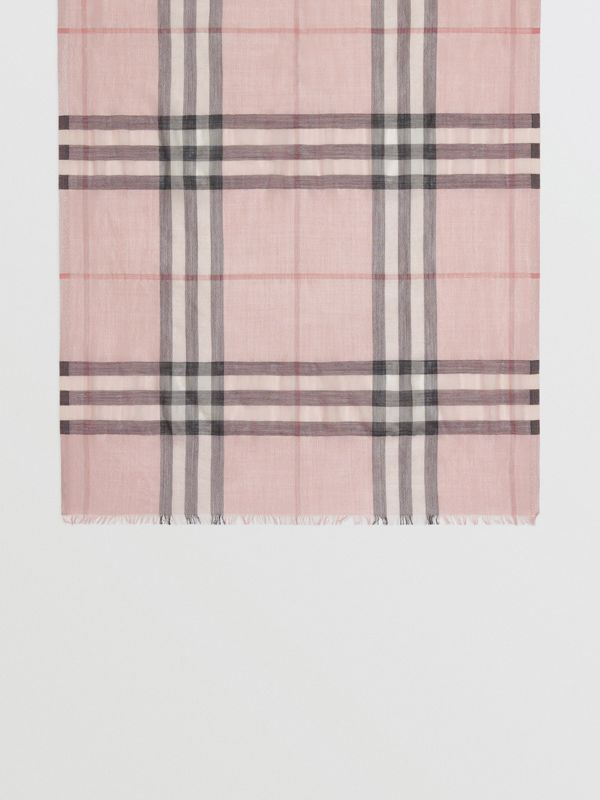 Metallic Check Silk and Wool Scarf in Ash Rose/silver | Burberry Australia - cell image 3