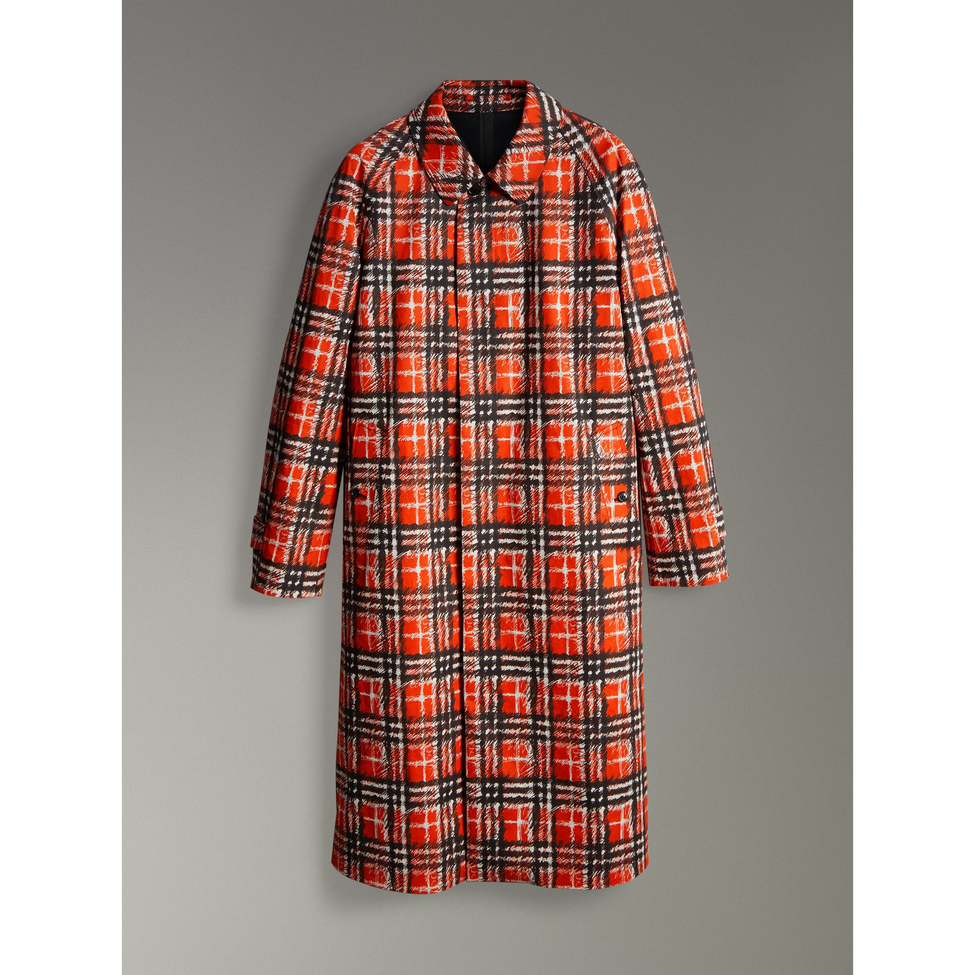 Scribble Check Cotton Car Coat in Bright Military Red - Men | Burberry - gallery image 3