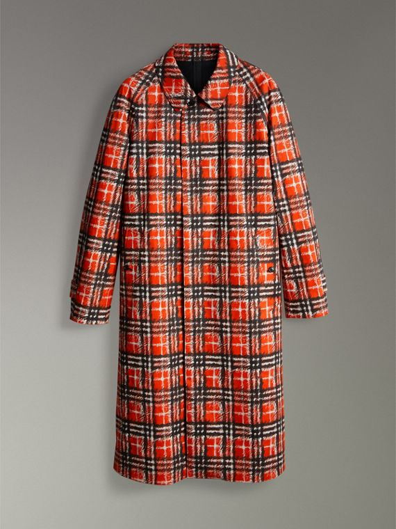 Scribble Check Cotton Car Coat in Bright Military Red - Men | Burberry - cell image 3