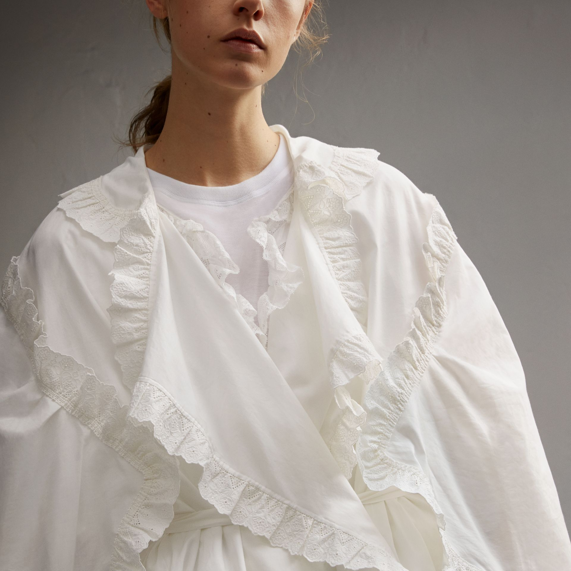 Broderie Anglaise Ruffle Cotton Dress in White - Women | Burberry - gallery image 5