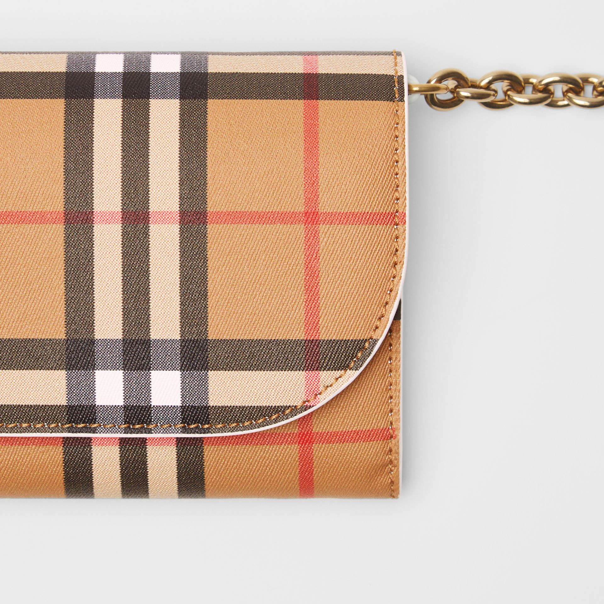 Vintage Check and Leather Wallet with Chain in Chalk White - Women | Burberry Canada - gallery image 1