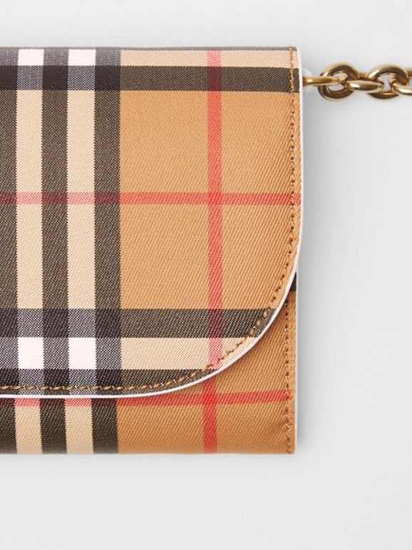 Vintage Check and Leather Wallet with Chain in Chalk White - Women | Burberry Canada - cell image 1