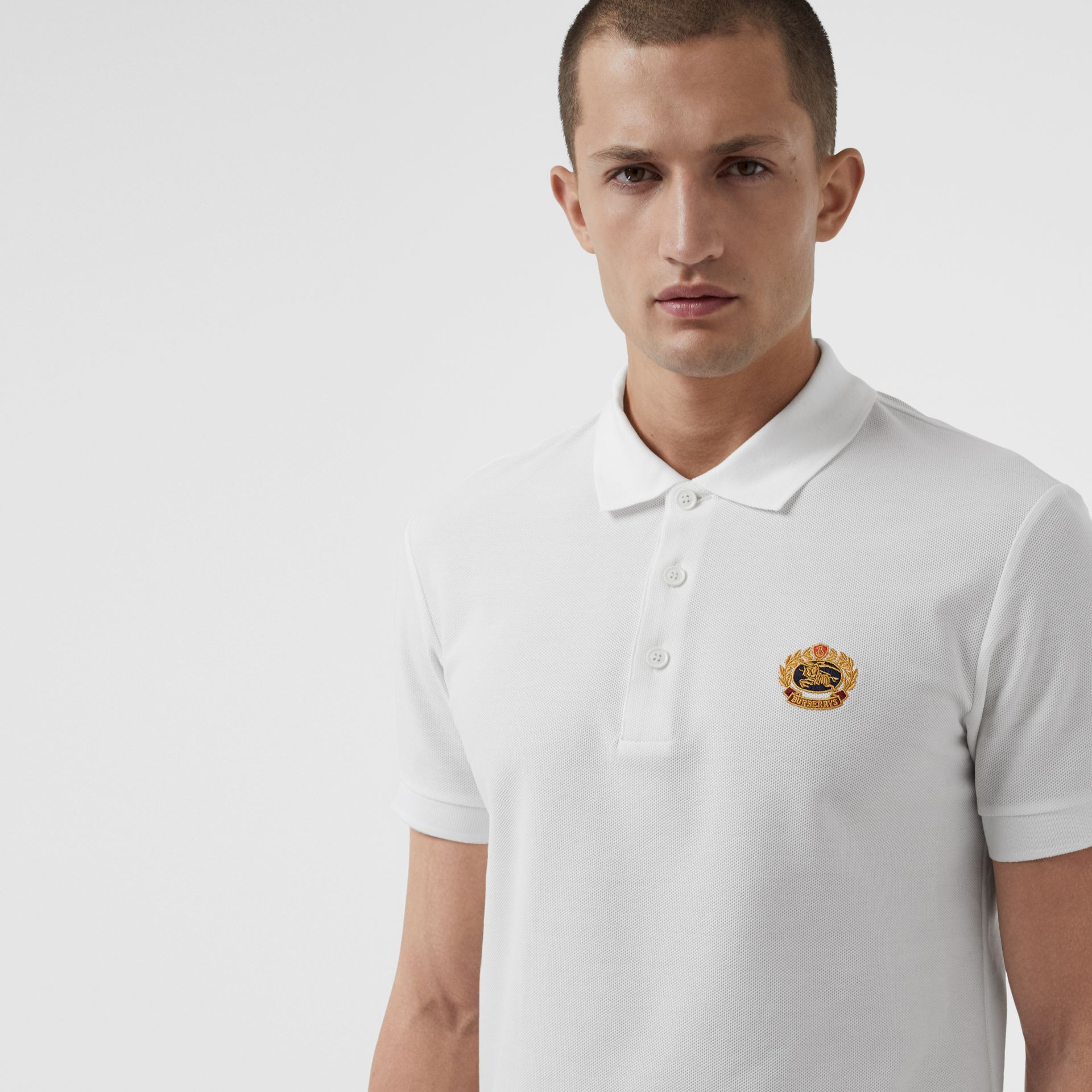 Archive Logo Cotton Piqué Polo Shirt in White - Men | Burberry United Kingdom - gallery image 1