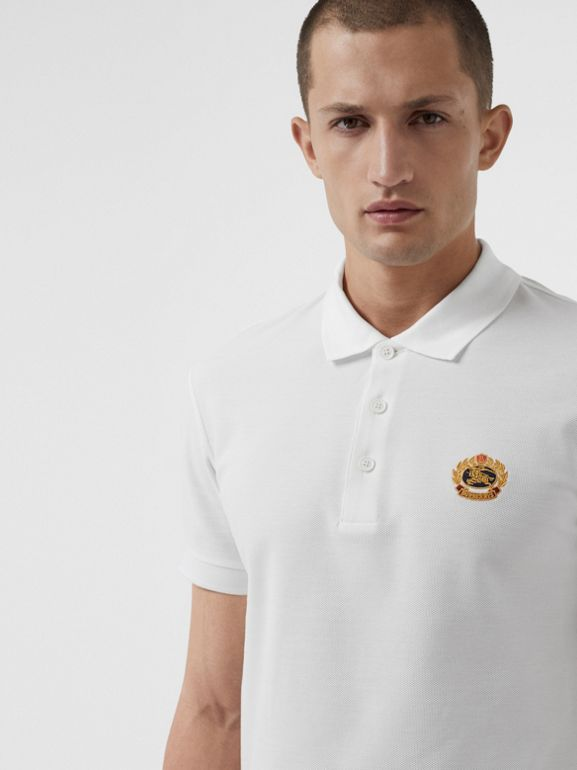 Archive Logo Cotton Piqué Polo Shirt in White - Men | Burberry United Kingdom - cell image 1