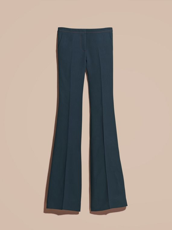 Ink blue Wool Silk Boot-cut Trousers - cell image 3