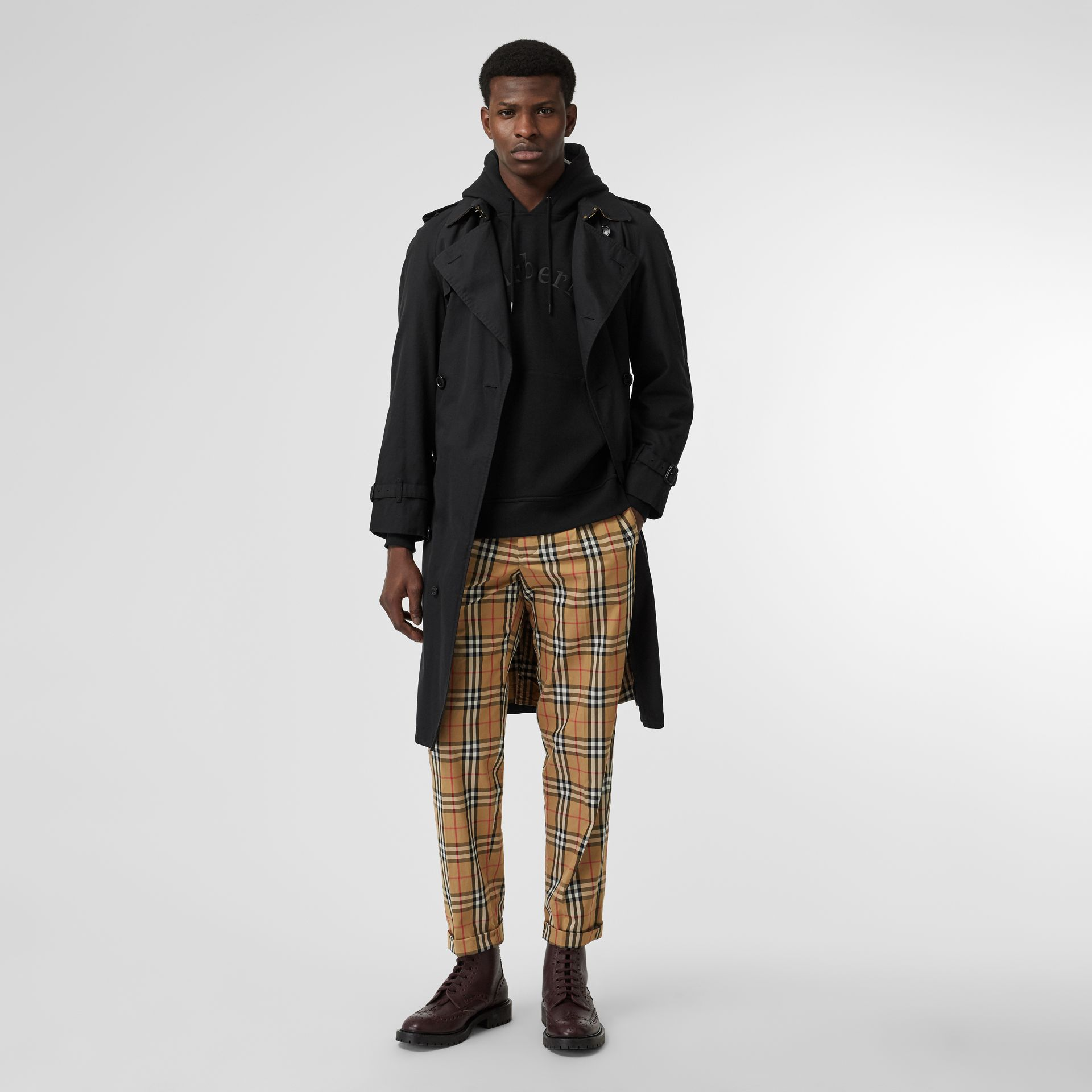 Vintage Check Cotton Trousers in Antique Yellow - Men | Burberry - gallery image 0