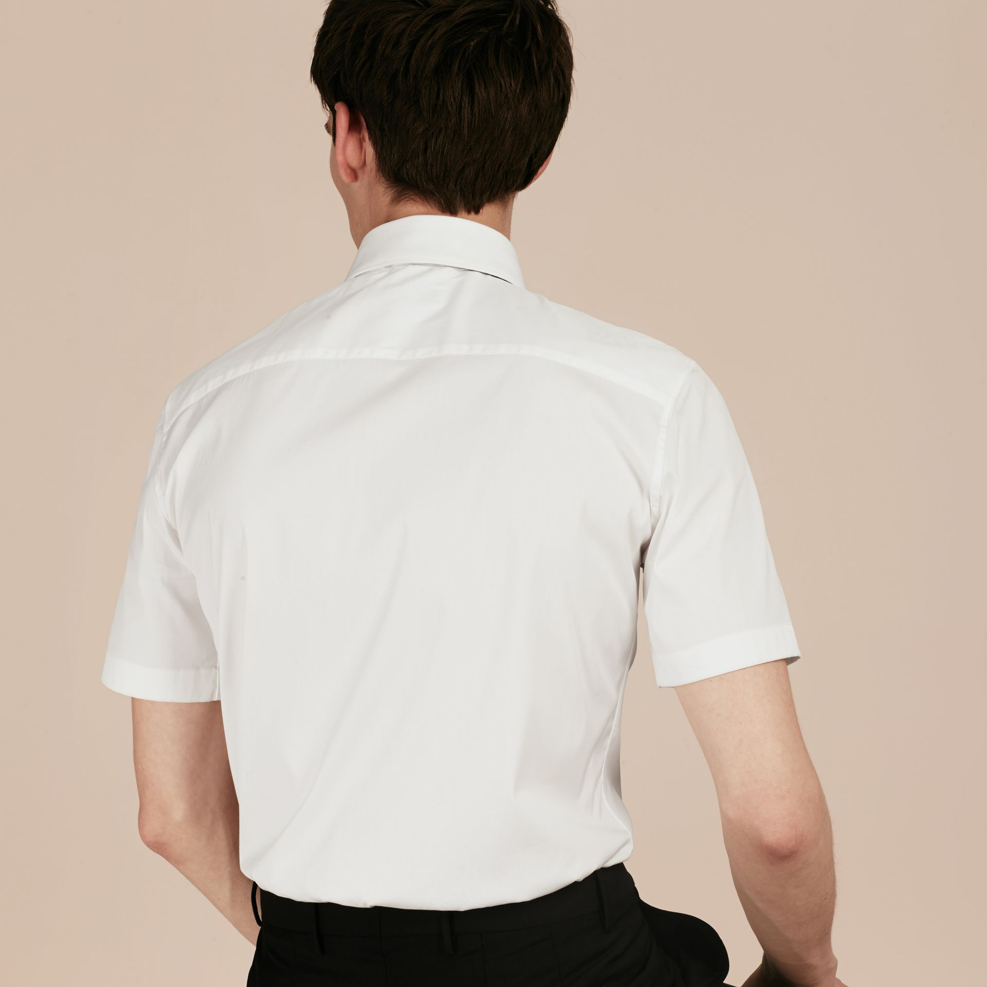 Slim Fit Short-sleeved Stretch Cotton Shirt - Men | Burberry - gallery image 2