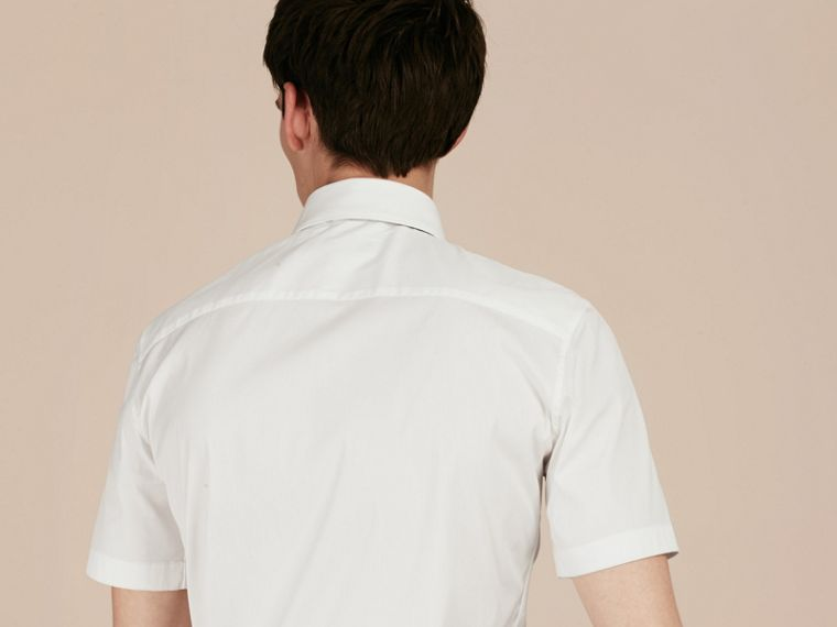 White Slim Fit Short-sleeved Stretch Cotton Shirt - cell image 1