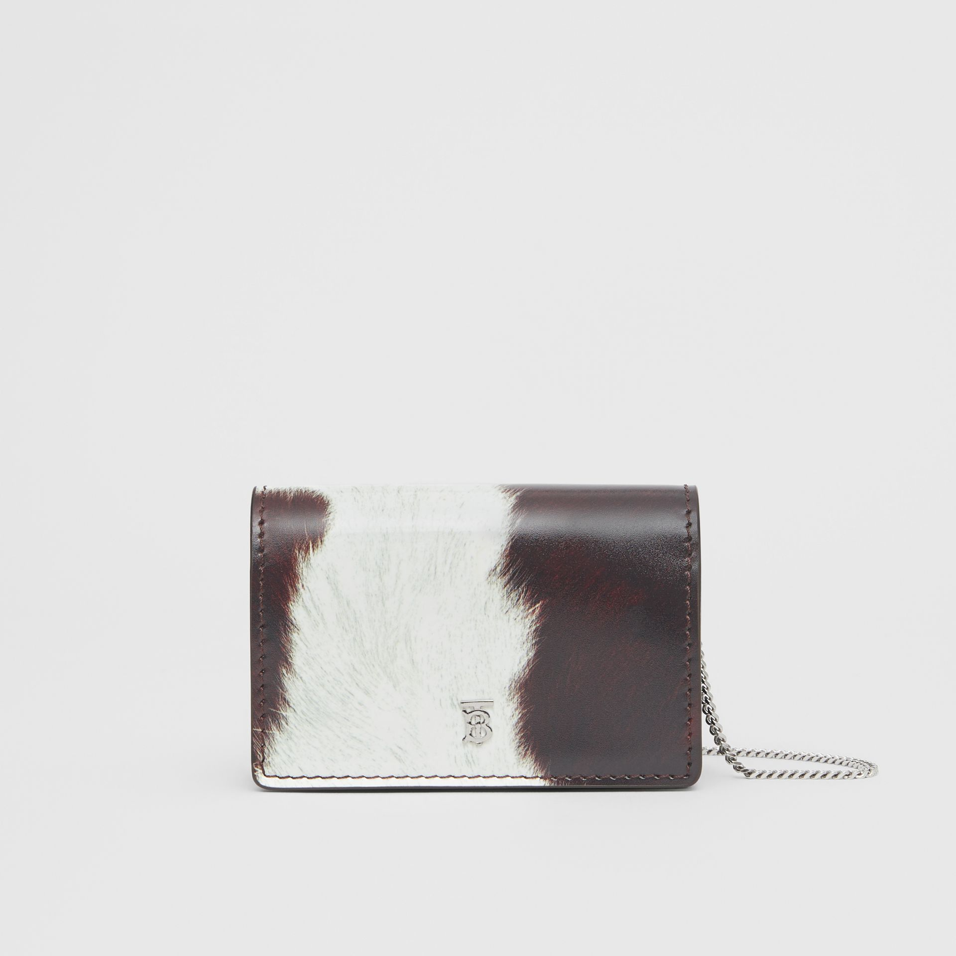 Cow Print Leather Card Case with Detachable Strap in Mahogany - Women | Burberry - gallery image 0