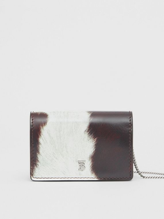 Cow Print Leather Card Case with Detachable Strap in Mahogany