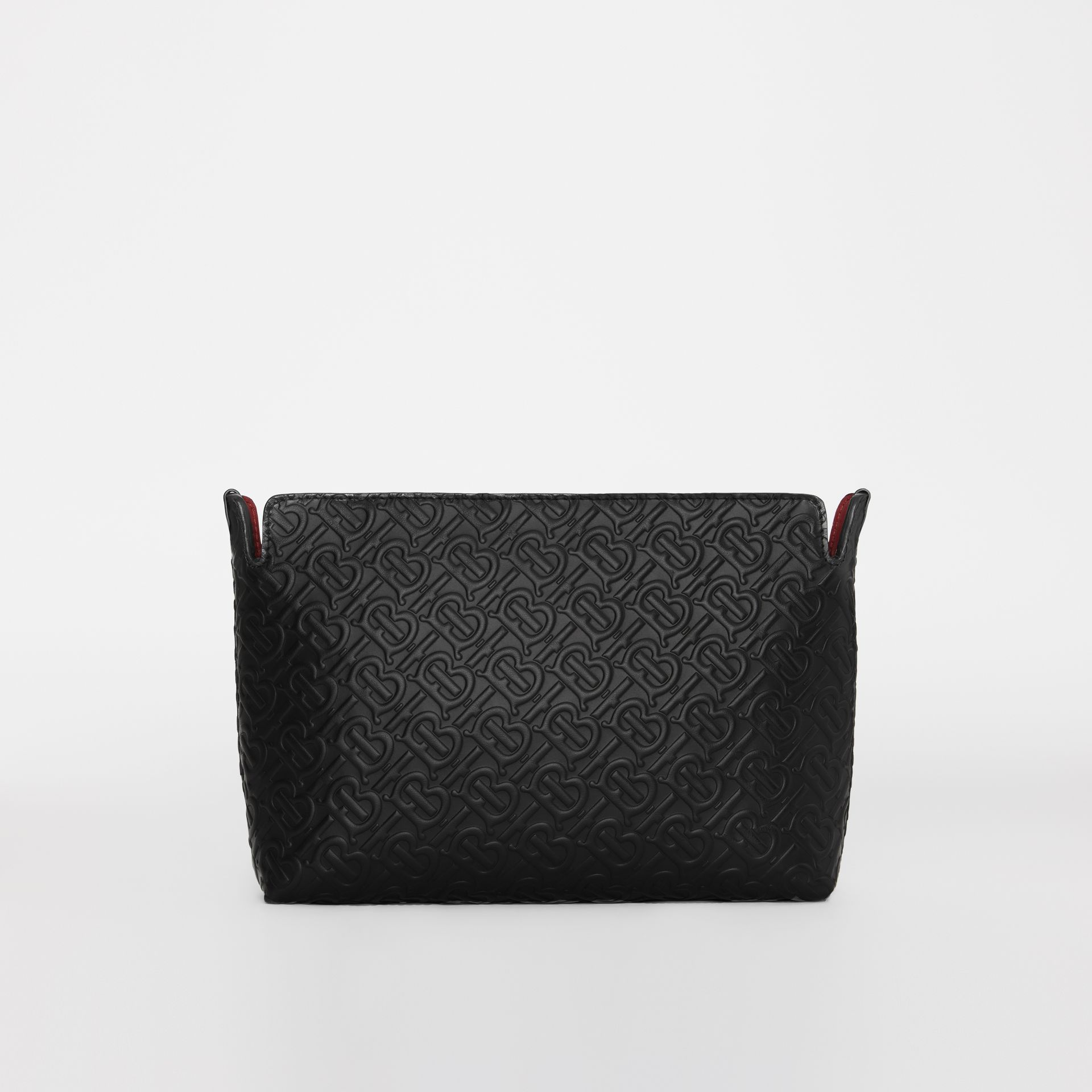 Medium Monogram Leather Clutch in Black - Women | Burberry United States - gallery image 6