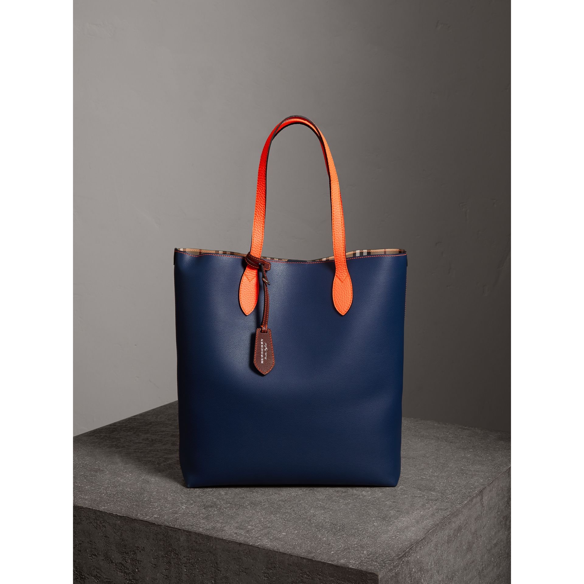 Medium Two-tone Coated Leather Tote in Dark Ultramarine | Burberry United Kingdom - gallery image 0