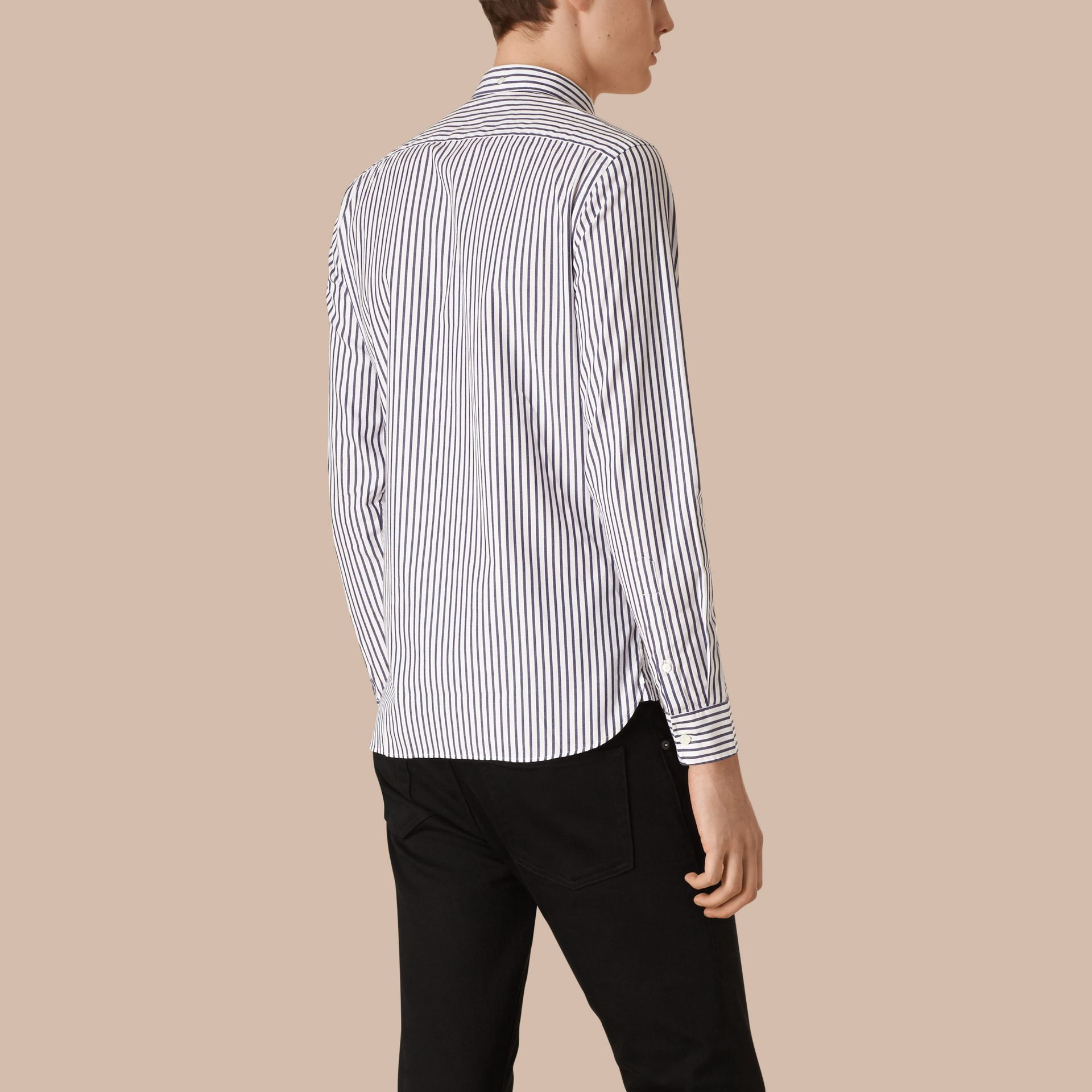 Navy Oxford Stripe Cotton Shirt - gallery image 2