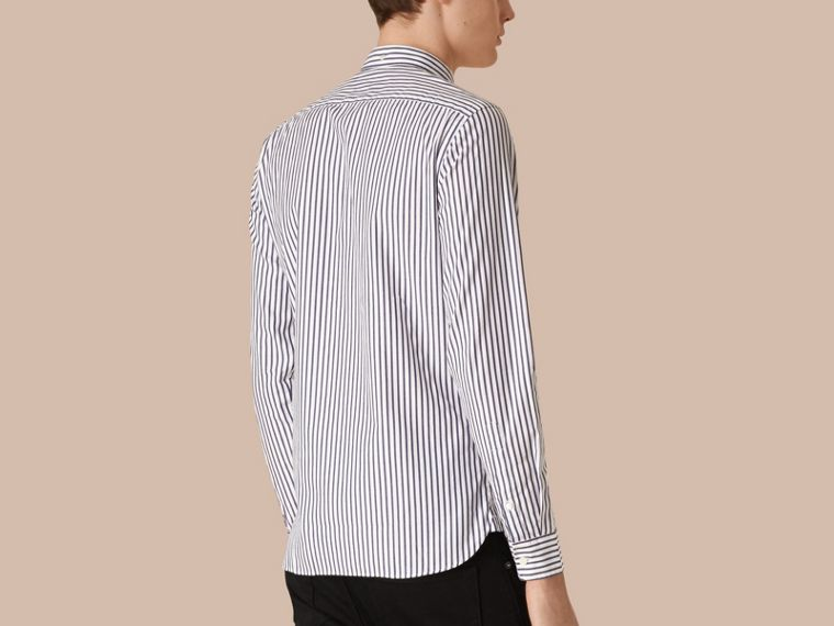 Navy Oxford Stripe Cotton Shirt - cell image 1