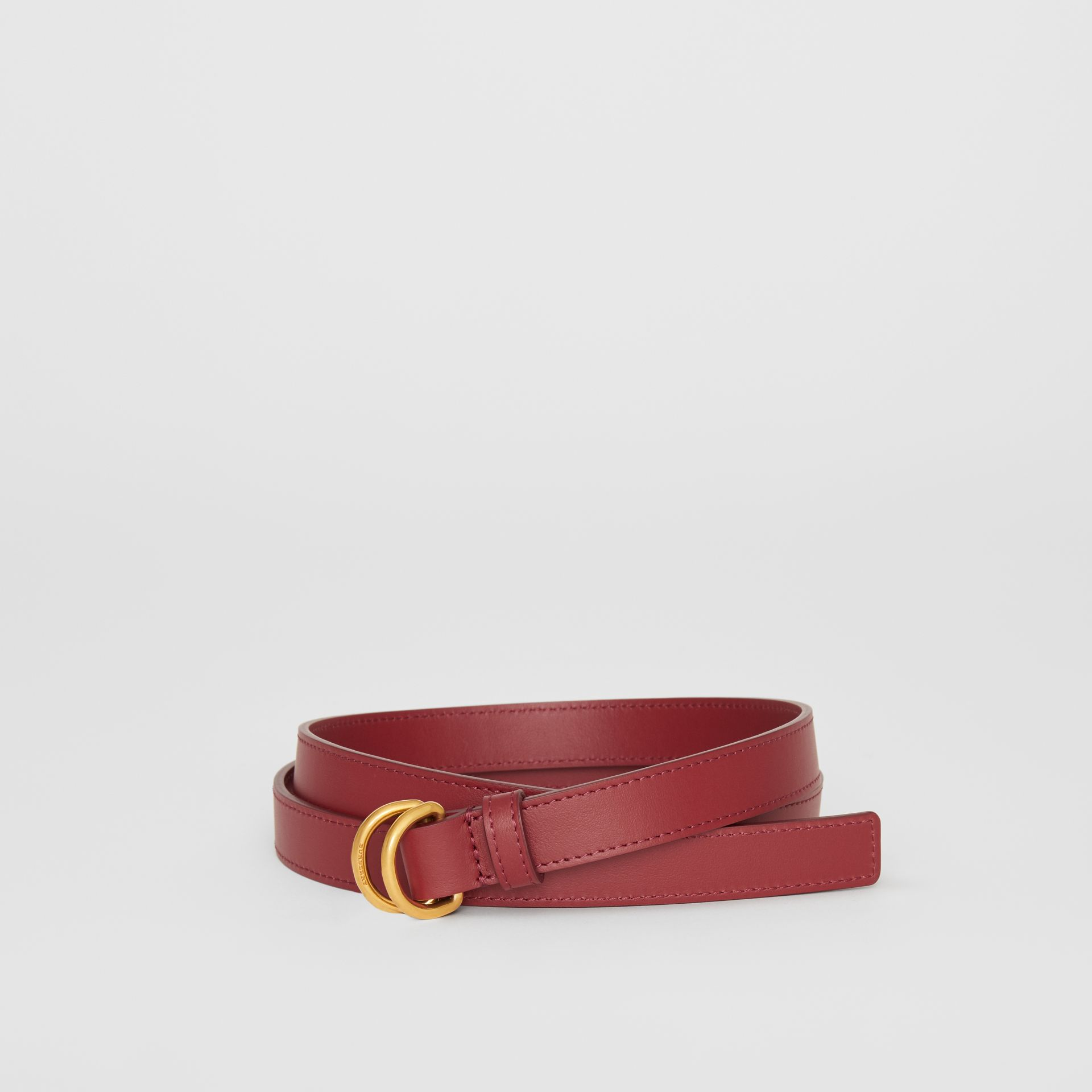 Slim Leather Double D-ring Belt in Crimson - Women | Burberry United Kingdom - gallery image 0