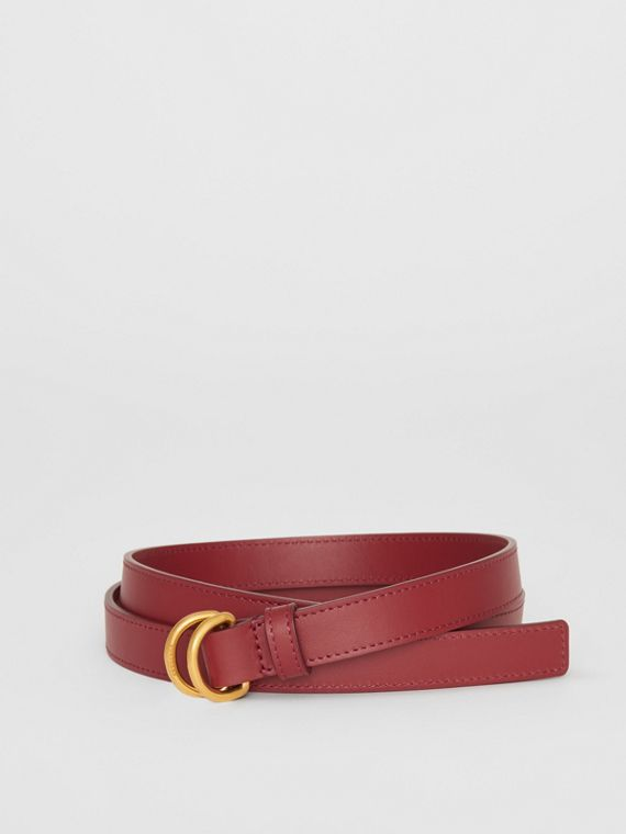 Slim Leather Double D-ring Belt in Crimson