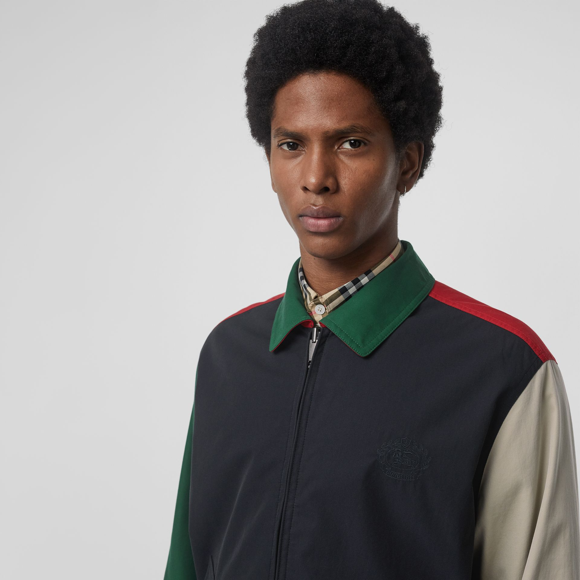 Reversible Vintage Check Harrington Jacket in Midnight - Men | Burberry United Kingdom - gallery image 1