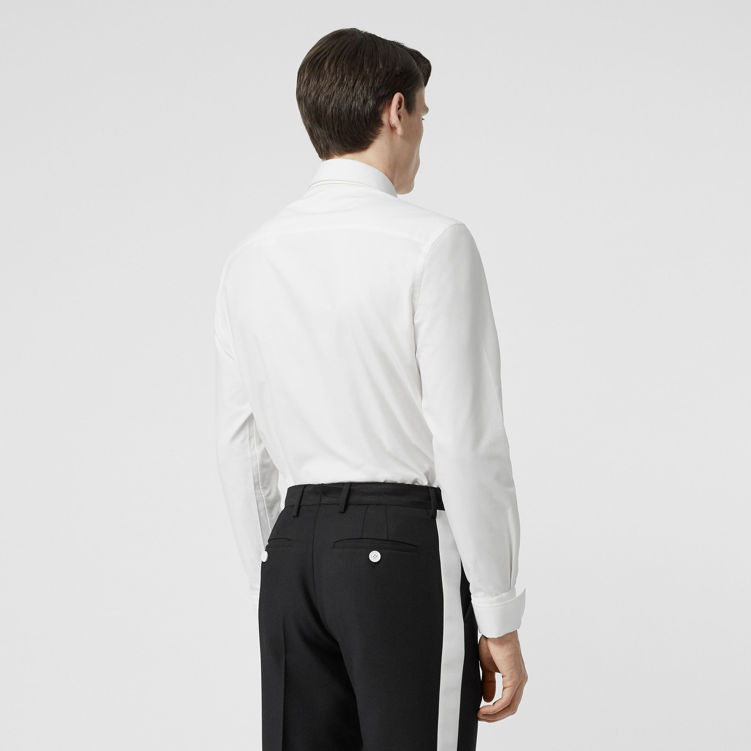 Classic Fit Detachable Collar Cotton Shirt in Optic White - Men | Burberry - 3