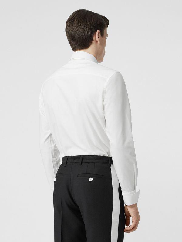 Classic Fit Detachable Collar Cotton Shirt in Optic White - Men | Burberry - cell image 2