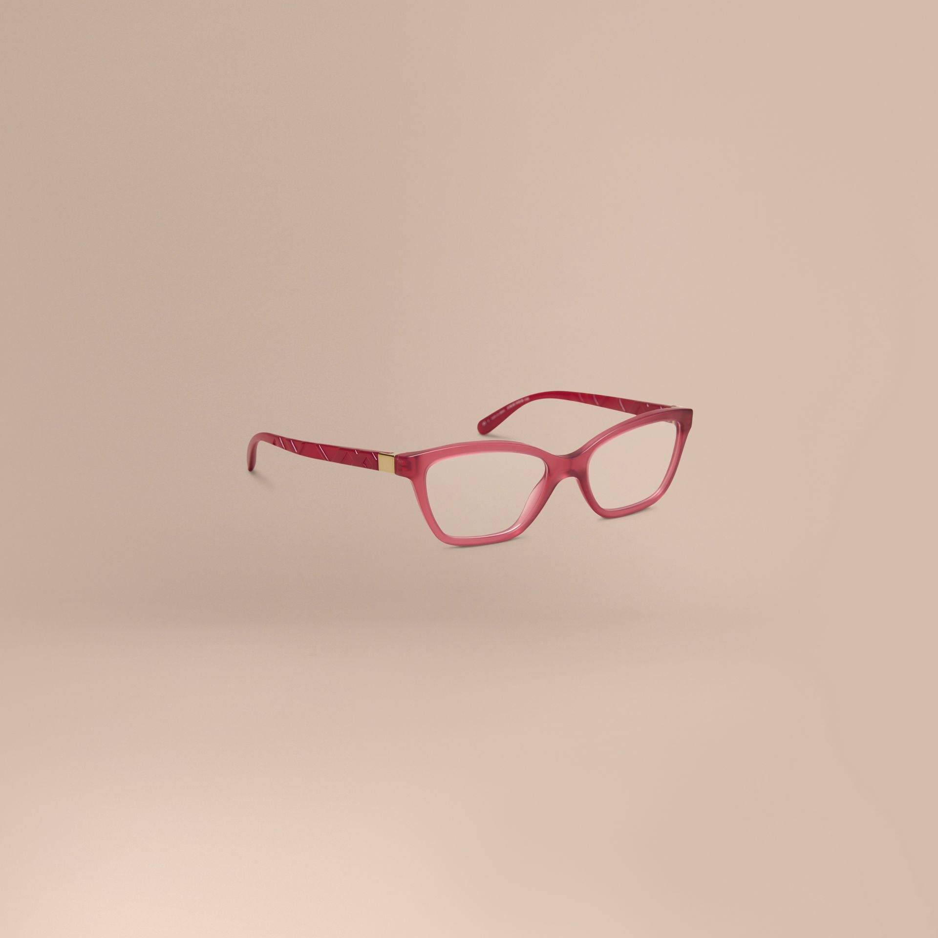 Red Check Detail Cat-eye Optical Frames Red - gallery image 1