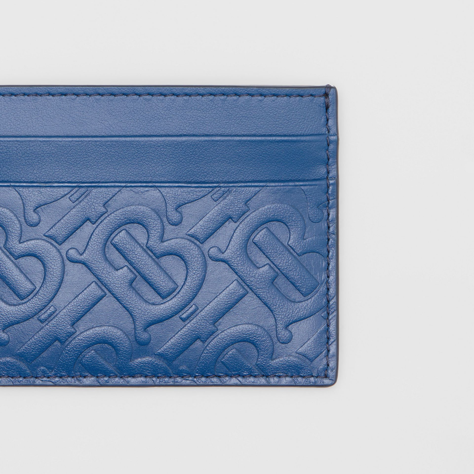 Monogram Leather Card Case in Pale Canvas Blue - Men | Burberry United States - gallery image 1