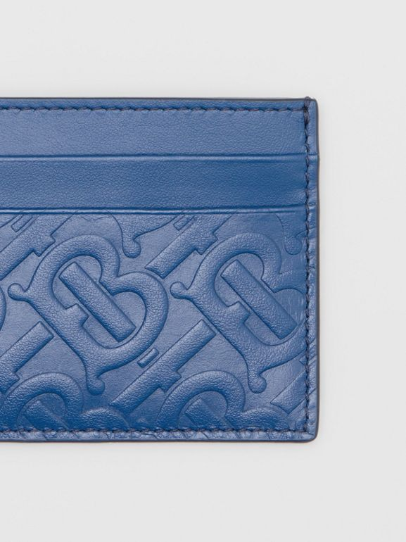 Monogram Leather Card Case in Pale Canvas Blue - Men | Burberry United States - cell image 1