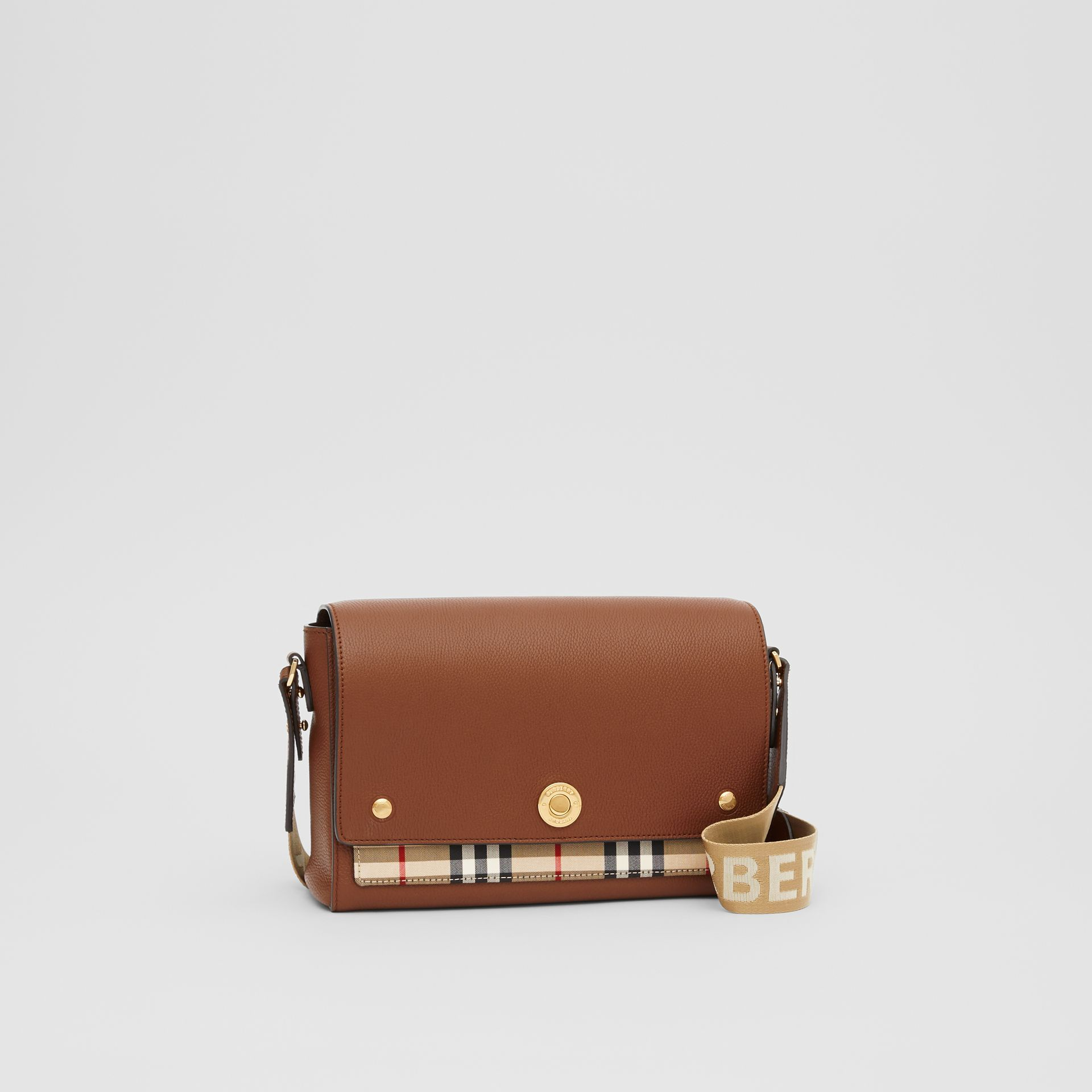 Leather and Vintage Check Note Crossbody Bag in Tan - Women | Burberry United States - gallery image 6