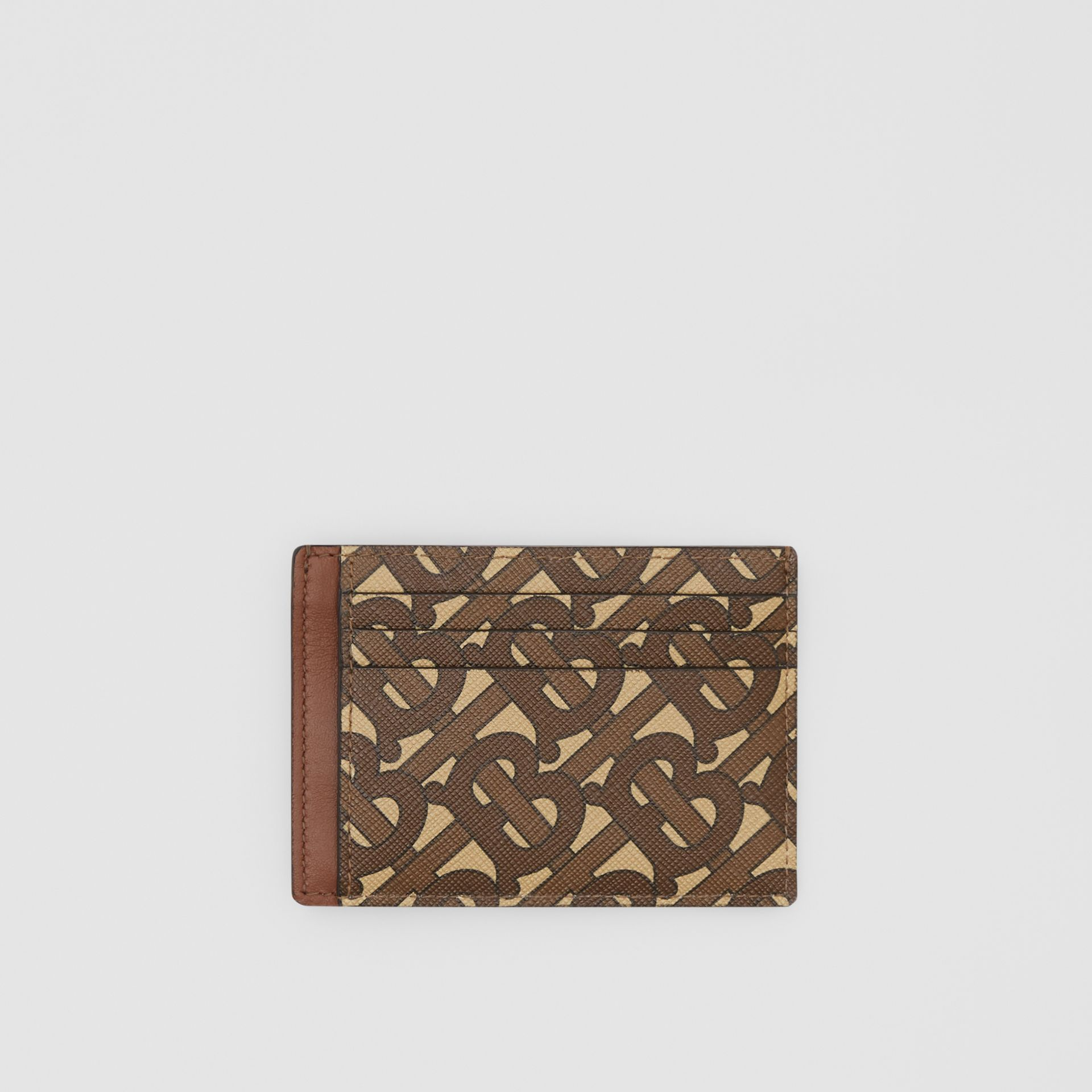 Monogram Print E-canvas Money Clip Card Case in Bridle Brown - Men | Burberry - gallery image 0