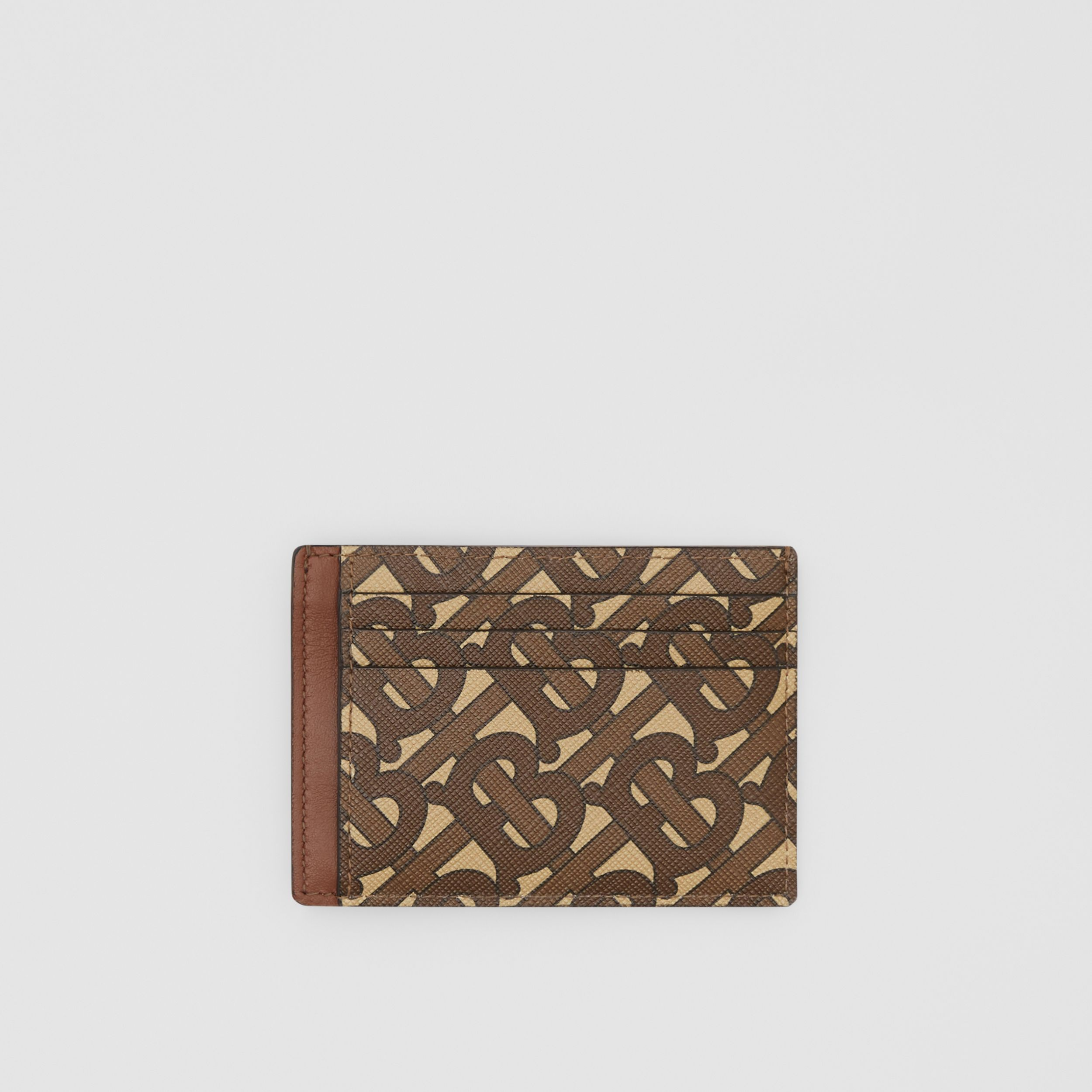 Monogram Print E-canvas Money Clip Card Case in Bridle Brown - Men | Burberry - 1