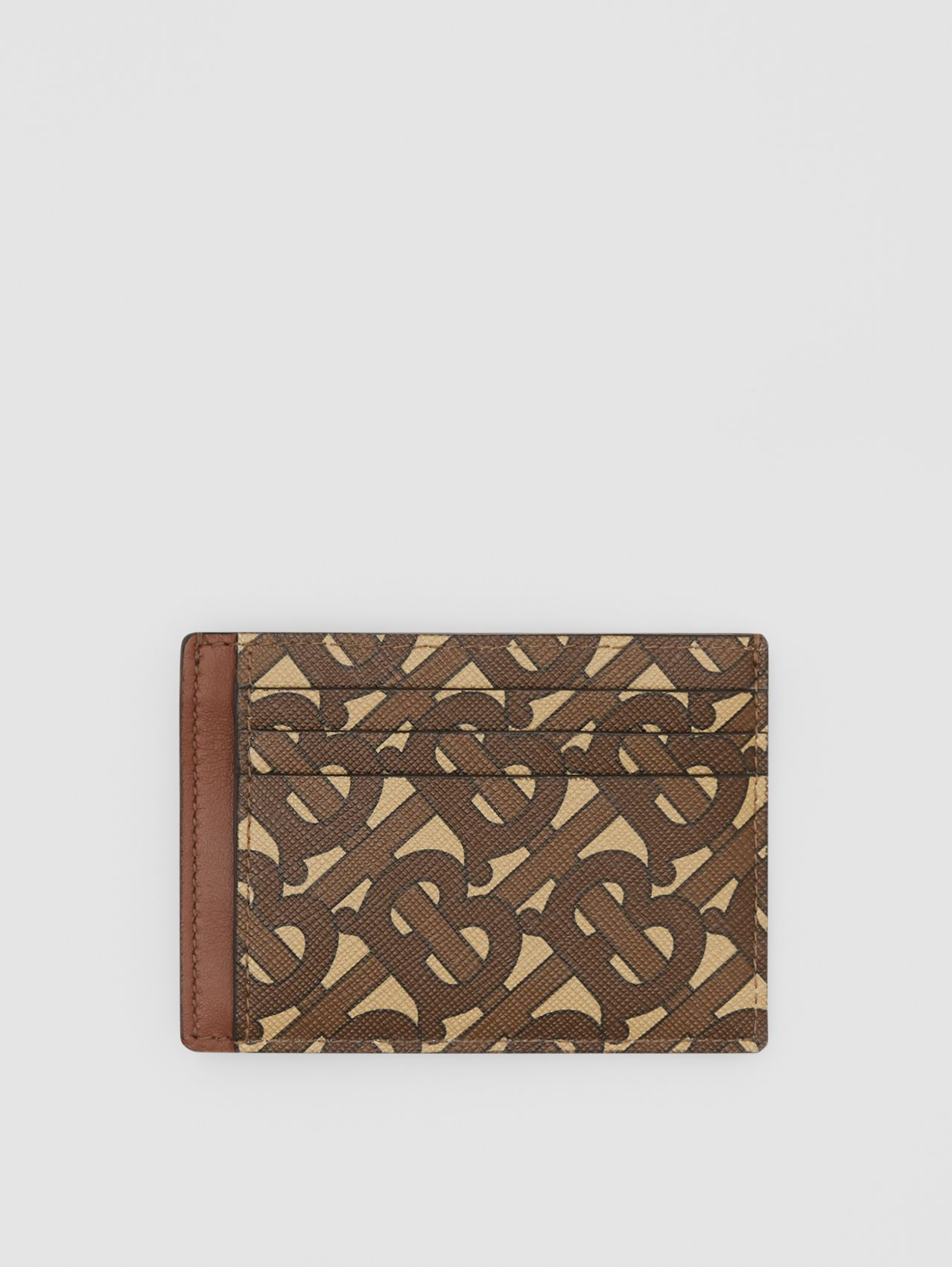 Monogram Print E-canvas Money Clip Card Case in Bridle Brown