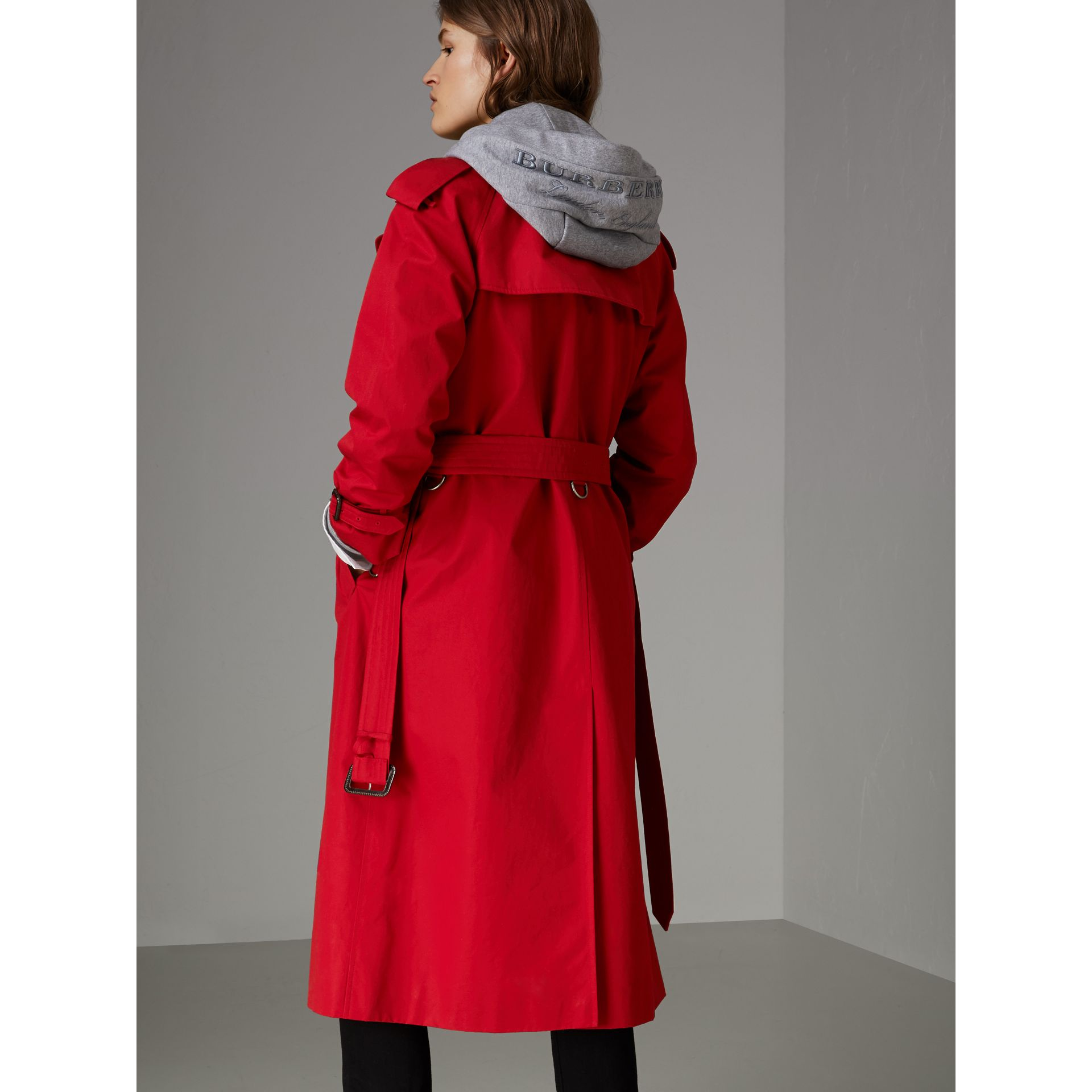 Raglan-sleeve Cotton Trench Coat in Parade Red - Women | Burberry Singapore - gallery image 2